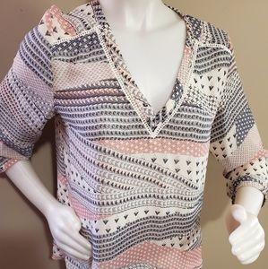 EUC Boho style Aztec print blouse